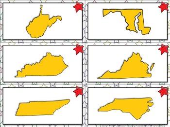 Virginia's Bordering States: Matching Game Sort - King Virtue's Classroom