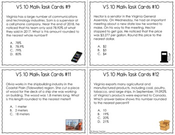 Virginia's Government and Economics Math Task Cards *Cross-Curricular* (VS.10)