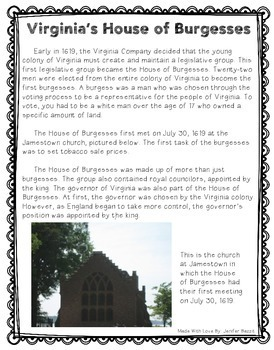 Virginia's House of Burgesses: Lesson and Interactive Notebook Activity