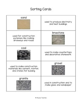 Virginia's Mineral Resources Sorting Cards (SOL 4.9)