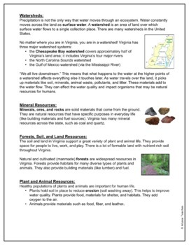 Virginia's Natural Resources Study Guide and Review Worksheet (SOL 4.9)