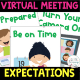 Virtual Classroom Rules and Expectations Posters DISTANCE