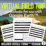 Virtual Field Trip {Google Earth} Extension Worksheets Distance Learning