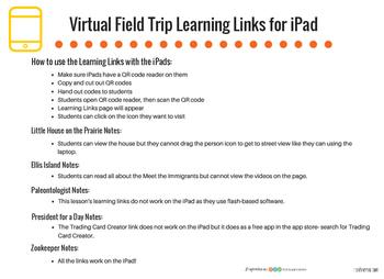 Virtual Field Trip Learning Links for iPad