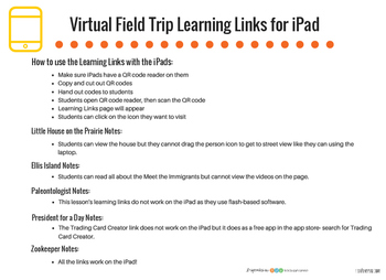 Virtual Field Trip Learning Links for iPad