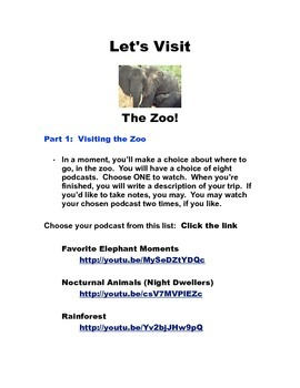 "Virtual Field Trip:  ""Let's Visit the Zoo"""