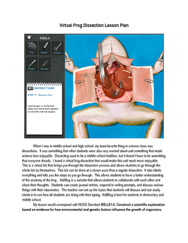 Virtual Frog Dissection Lesson Plan