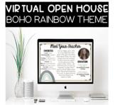 Virtual Meet The Teacher Open House PowerPoint with Google Slides Boho Rainbow