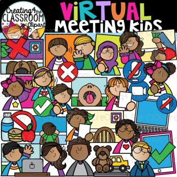 Virtual Meeting Kids Clipart Distance Learning Clipart Tpt