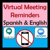 Virtual Meeting Reminders in Spanish and English - Editabl