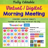 Virtual Morning Meeting Morning Calendar Math Activities for Distance Learning