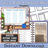 Editable Winter Report Card, Grade Book, Virtual Template, Add Bitmoji & Links