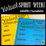 Virtual Spirit Week for Distance Learning - Editable & Translated