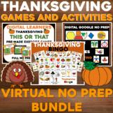 Virtual THANKSGIVING Bingo and Weeklong Activity BUNDLE -