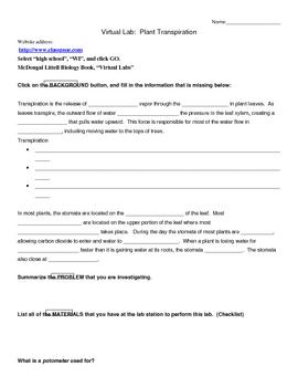 Virtual Transpiration Lab Study Guide