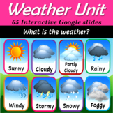 Virtual Weather Math and Literacy unit | Distance Learning - 65 Google Slides