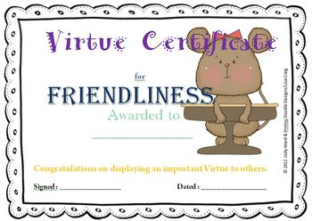 Certificates - Virtue Award Certificates Pack Two