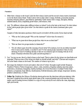 Virtue Character Lesson Plan