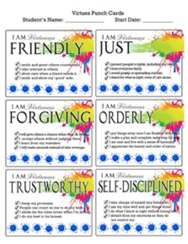 Virtues Punch Cards- Paint