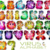 Virus Microscopic Germ Alphabet Text Clipart