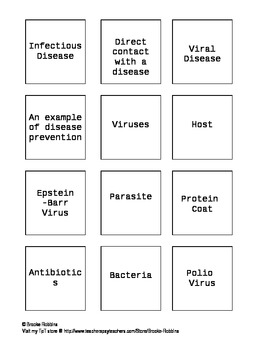 Virus and Infectious Disease Matching Review Game
