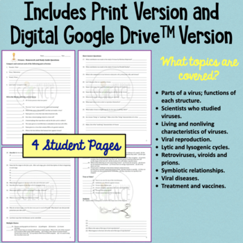Viruses Homework and Study Guide by Amy Brown Science | TpT