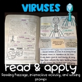 Viruses Reading Comprehension Interactive Notebook Activity {NGSS MS-LS1-1}