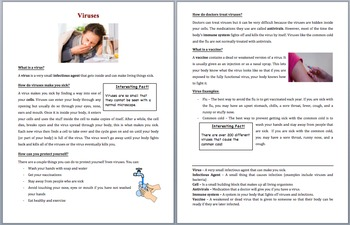 Viruses - Scientific Reading Comprehension Activity – Grades 5-7