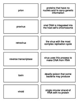 Viruses and Bacteria Flash Cards for Biology II