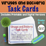 Viruses and Bacteria Task Cards   Printable and Digital Distance Learning
