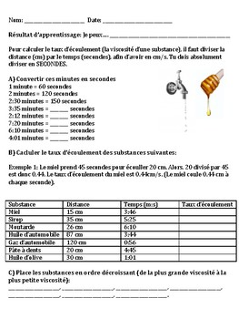 Viscosity French Worksheet (Viscosité)