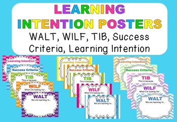 Visible Leanring - Learning Intentions Posters WALT, WILF,