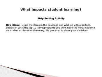 """Visible Learning"" Power Point Presentation and Strip-Sorting Activity"
