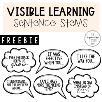 Visible Learning Sentence Stems [FREEBIE]