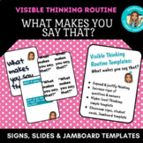 """Visible Thinking Routine Templates: """"What Makes You Say That?"""" slides, Jamboard"""