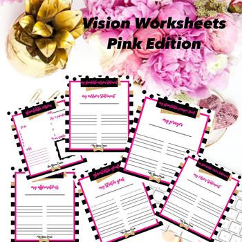 Vision Board Boutique Custom Pink Worksheet Bundle