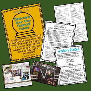 Personal Financial Literacy Vision Board - Goals, Wants, Needs HS