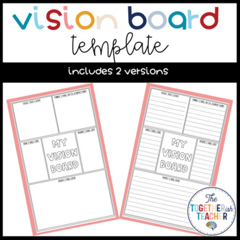 Vision Board Template Worksheets Teaching Resources Tpt