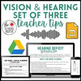 Vision & Hearing Teacher Tips Cards