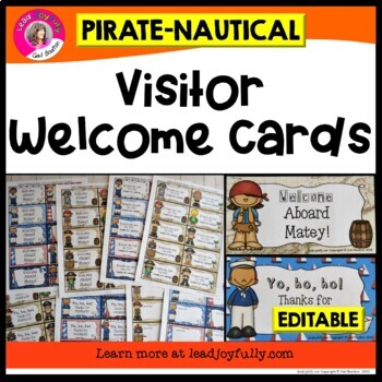 Visitor Welcome Cards- (Pirate/Nautical Theme)