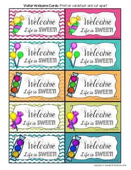 Visitor Welcome Cards- CANDY Theme (Principals or Teachers)