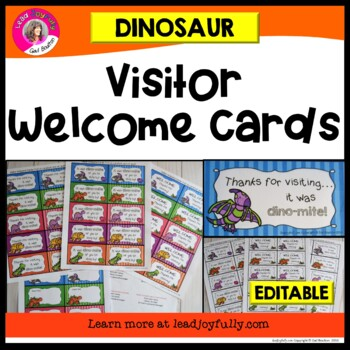 Visitor Welcome Cards- DINOSAUR Theme (Principals or Teachers)