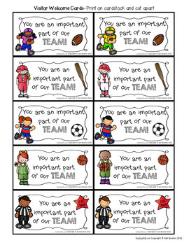 Visitor Welcome Cards- SPORTS Theme (Principals or Teachers)