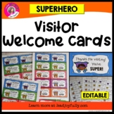 Visitor Welcome Cards- SUPERHERO Theme (Principals or Teachers)