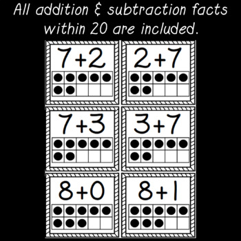 Visual Addition and Subtraction Flashcards with 10 Frames BUNDLE