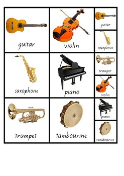 Visual Aid Photo Cards (PECS) - Musical Instruments