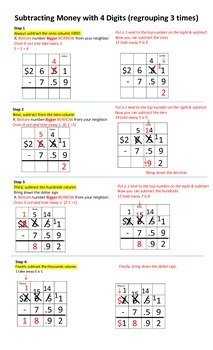 Visual Aid: Subtracting Money with Regrouping 3 Times