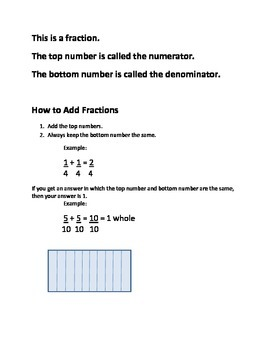 Visual Aid for Adding Fractions with Like Denominators
