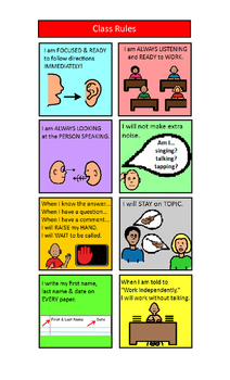 Classroom Rules for Students with Learning Differences Visual Aid