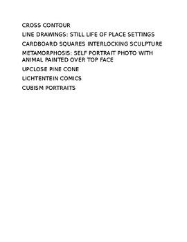 Visual Art 1 Semester Outline